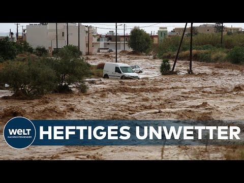 UNWETTER in GRIECHENLAND: Überschwemmungen & reißende Flüsse mit Geröll auf Kreta