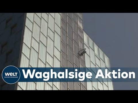 OHNE SEIL & SICHERUNG: Kletterer George King klettert auf einen der höchsten Wolkenkratzer Europas