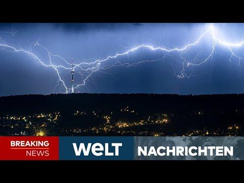STARKREGEN, GEWITTER! Menschen in Flutregion rüsten sich für das neue Unwetter! | WELT Newsstream