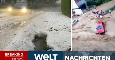 SCHWERE UNWETTER: Heftiger Hagel im Allgäu – Dramatisches Hochwasser in Belgien | WELT Newsstream