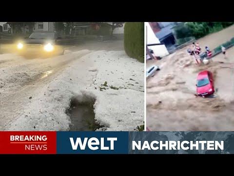 SCHWERE UNWETTER: Heftiger Hagel im Allgäu - Dramatisches Hochwasser in Belgien   WELT Newsstream